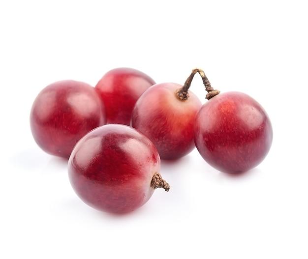 白のクローズアップでピンクのブドウマクロ