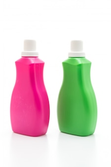 Pink and green plastic bottle for detergent
