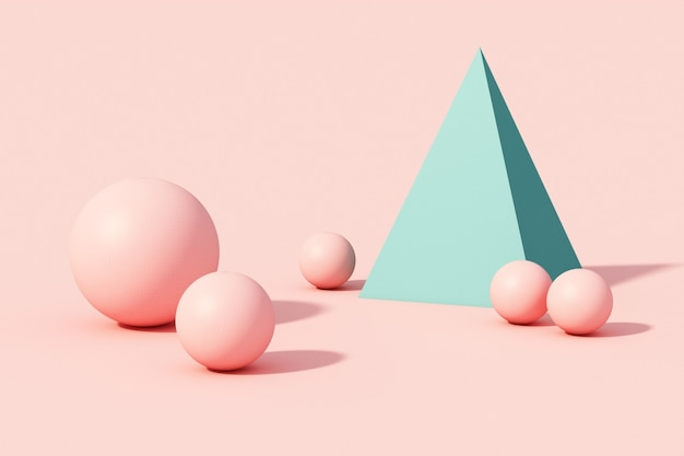 Pink and green sphere ball and pyramid on pink pastel background. 3d render