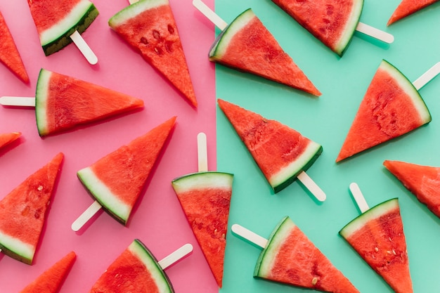 Pink and green watermelon background
