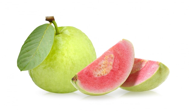 Pink guava fruit isolated on white surface