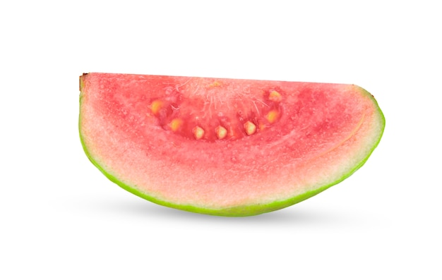 Pink guava isolated on white wall