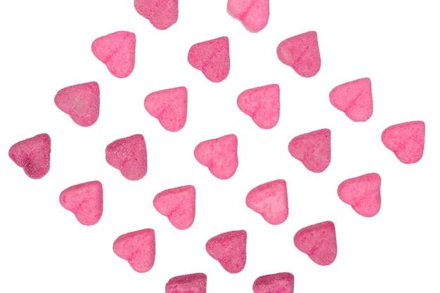핑크 젤리 사탕. 평면도. 젤리 과자. 흰색 배경에 고립.