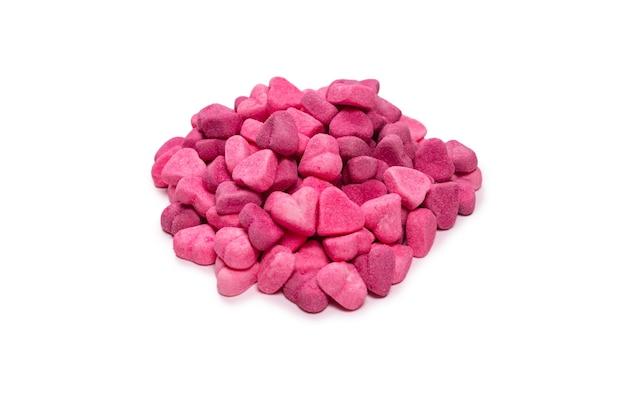핑크 젤리 사탕. 평면도. 젤리 과자. 흰색 배경에 고립. 프리미엄 사진