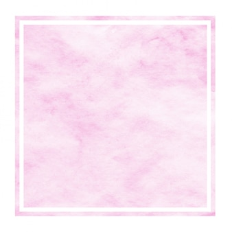 Pink hand drawn watercolor rectangular frame background texture with stains