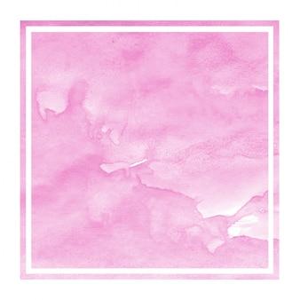 Pink hand drawn watercolor in rectangular frame