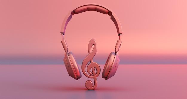 Розовые наушники и музыкальная нота на розовом фоне. 3d визуализация
