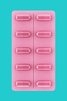 파란색 배경에 이중톤 스타일의 블리스터 팩의 핑크 건강 관리 캡슐. 3d 렌더링