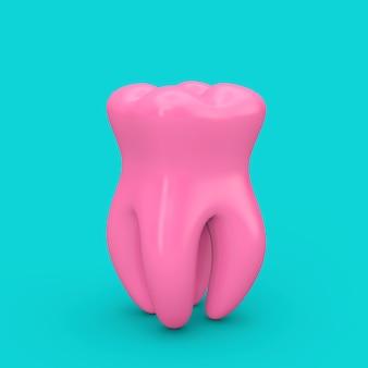 파란색 배경에 이중톤 스타일의 분홍색 건강한 치아. 3d 렌더링