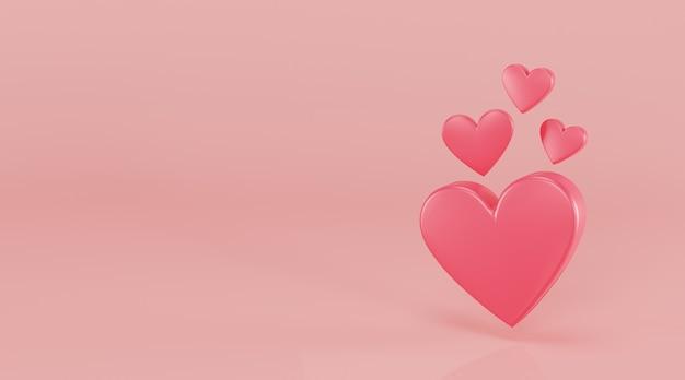 Pink heart 3d illustration.