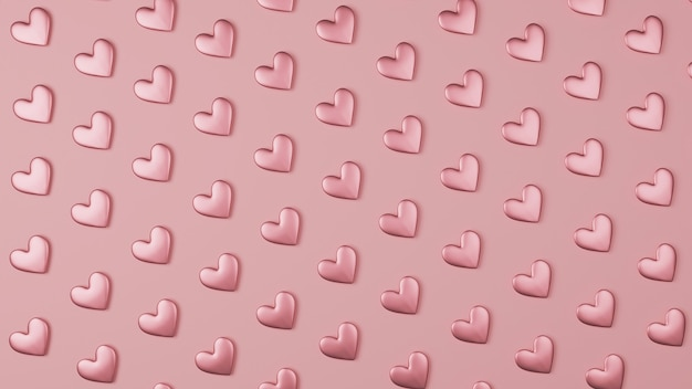 Pink heart background pattern on 3d style