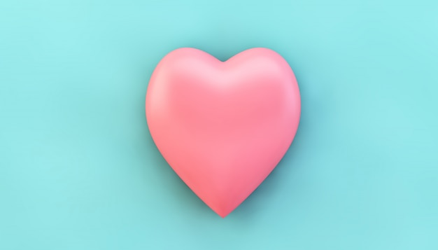 Pink heart on blue