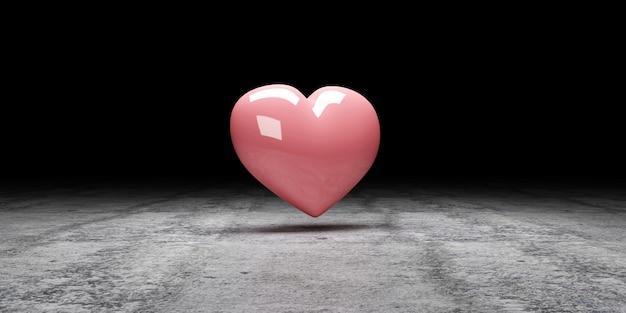 Pink heart at dark concrete background