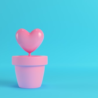 Pink heart in the pots on red box on bright blue background