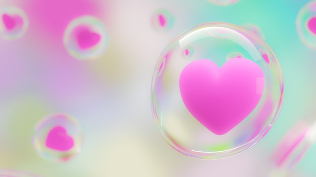 Pink heart protected by bubbles