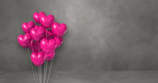 회색 벽 배경에 핑크 하트 모양 풍선 무리. 가로 배너입니다. 3d 그림 렌더링