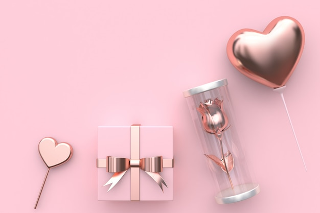 Pink heart shape gift box rose inside jar balloon heart abstract valentine concept 3d render