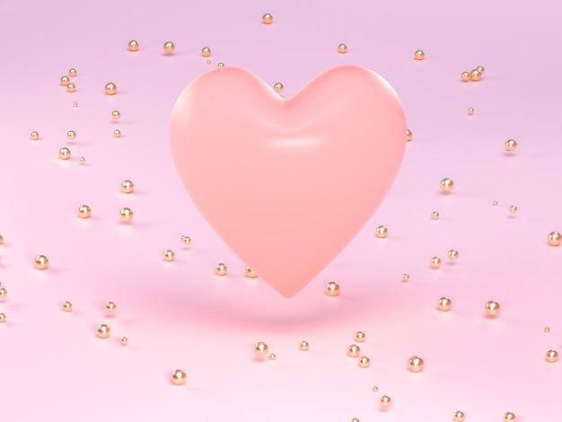 Розовое сердце формы золота много сфера на земле 3d-рендеринга
