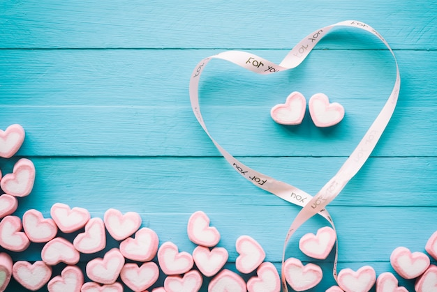 Pink heart shape marshmallow for love theme and valentine concept