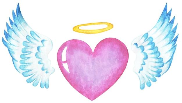 天使の羽とハローのピンクのハートバレンタインデー宗教的なイラスト白で隔離