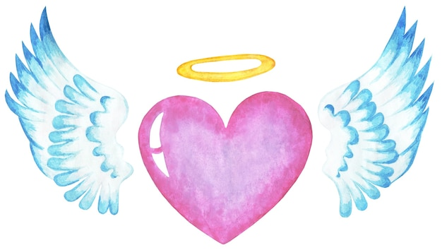 Pink heart with angel wings and a halo valentines day religious illustration isolated on a white