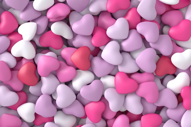 Pink hearts background. 3d rendering.