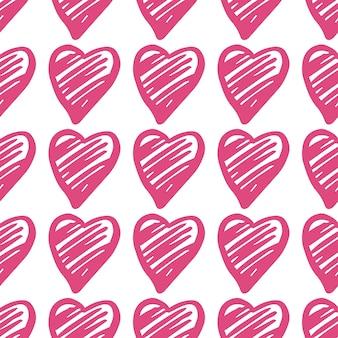 핑크 하트 완벽 한 패턴입니다. 발렌타인 데이 배경입니다. 2월 14일 배경. 손으로 그린 장식, 배경 질감입니다. 웨딩 템플릿입니다. 벡터 일러스트 레이 션.