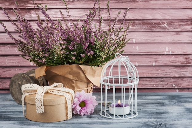 Pink heather in pot, gift box with lace bow