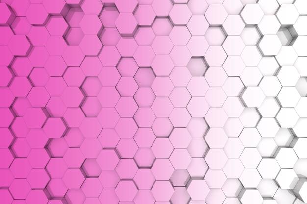 분홍색 육각형 배경입니다. 3d 배경