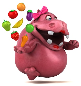 Pink hippo - 3d character