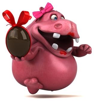 핑크 하마 - 3d 일러스트레이션