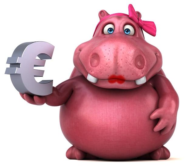 Иллюстрация розовый бегемот