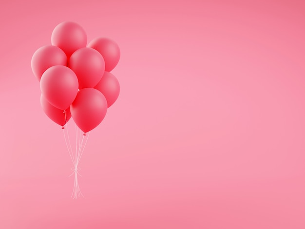 ピンクの休日の風船の 3 d レンダリング