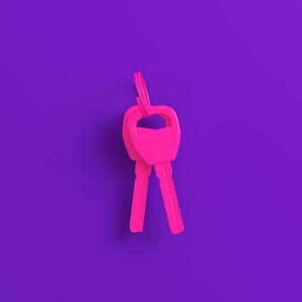紫の家や車のピンクのキー