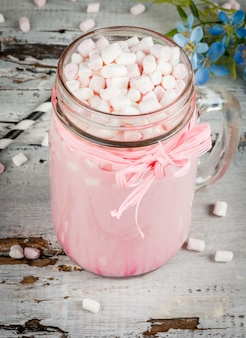 Pink hot chocolate with marshmallow