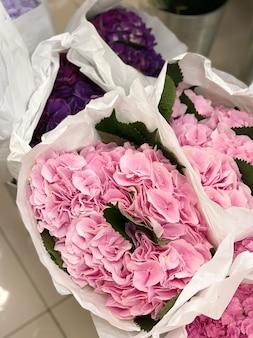 店内の花屋のパッケージにピンクのあじさいのつぼみ美しい夏の花