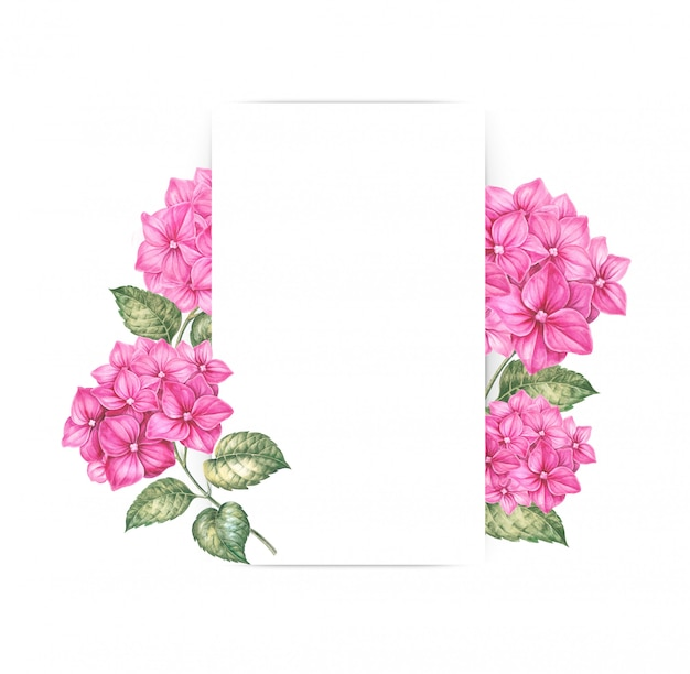 Pink hydrangea flowers decorating a blank frame