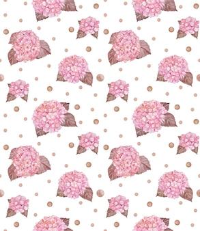 핑크 수국 원활한 패턴, 수채화 수국 반복 종이, 여름 꽃 패턴