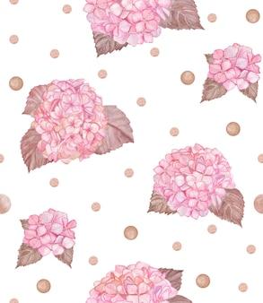 ピンクのアジサイ水彩シームレスパターン。春のヴィンテージの花の壁紙