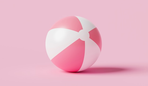 Pink inflatable ball beach toy on pink summer background with balloon concept. 3d rendering.