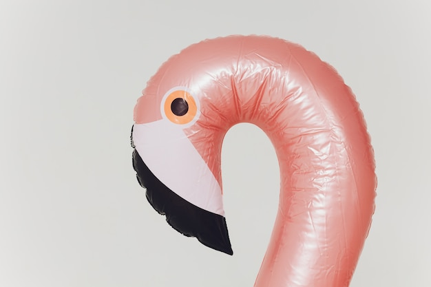 Pink inflatable flamingo
