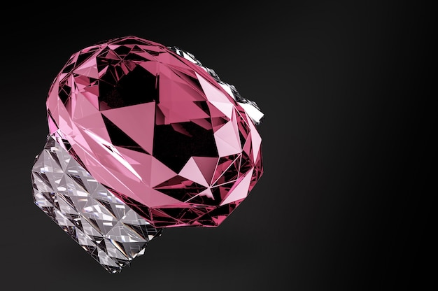 Pink jewelry diamond gem stone ring with clipping path