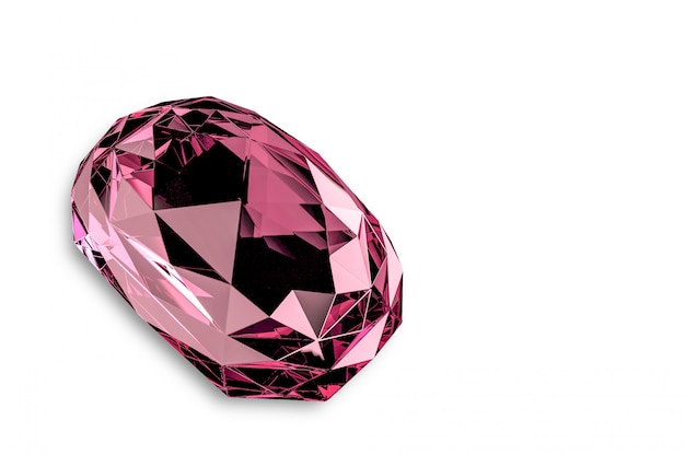 Pink jewelry diamond gem stone with clipping path.