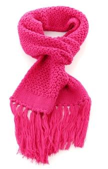 핑크 니트 스카프 흰색 절연