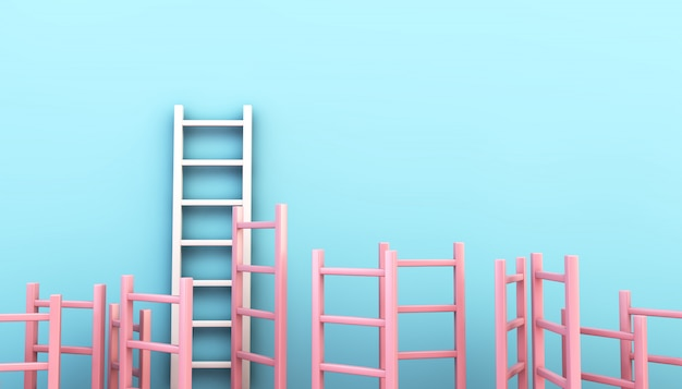 Pink ladder collection on blue background