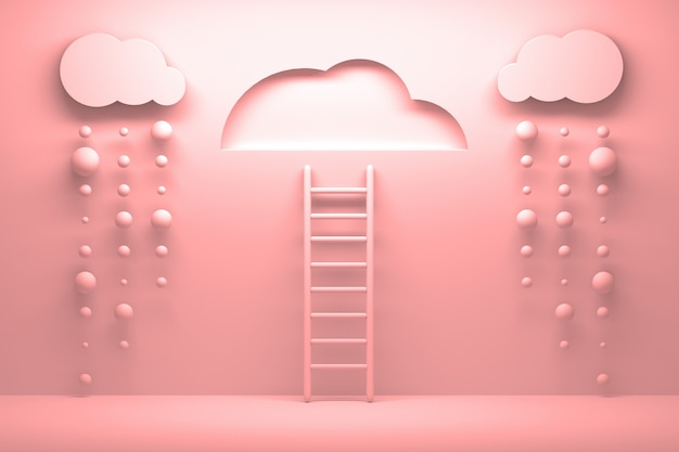 Pink ladder leading to a clear sky with clouds and falling rain
