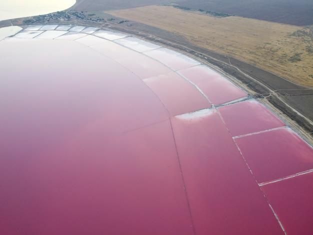 薬効成分を含むウクライナのピンク湖は、高塩分で成長する藻類のためにピンク色になっています。同じ湖がメキシコにあります