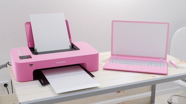 Pink laptop and pink printer blank screen  placed on a wooden desk, 3d render.