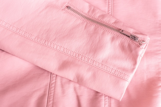 Pink leather fabric, detail of women's jacket