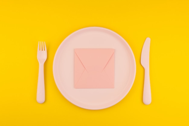 Pink letter on serving table. romantic concept